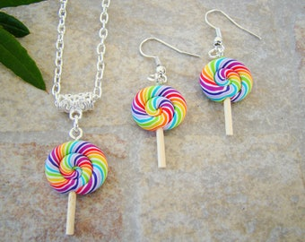multicolored lollipop lollipop ornament - polymer clay earrings and necklace polymer clay earrings gift necklace
