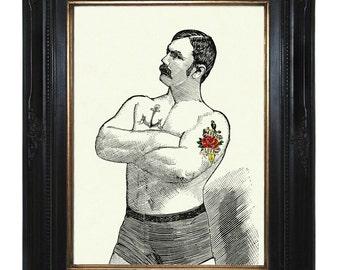 Valentine's Day Tattooed Strongman - Art Print Gentleman Boxer Victorian Steampunk Circus