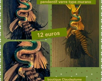 Feather type murano glass snake necklace