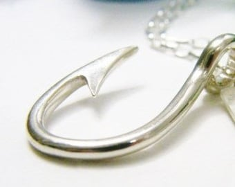 hooked fish hook sterling silver only