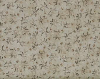 Small Brown Leaves and Flowers on Cream Background 100% Cotton Quilt Fabric, Kim Diehl's Helping Hands Collection, HEG6878-44