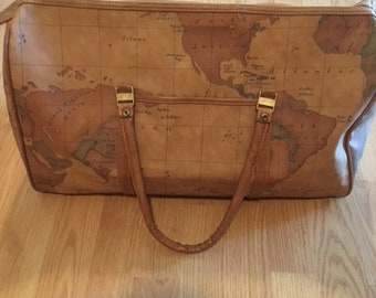 VINTAGE 1990s Gitano Huge Brown Faux Leather Weekender World Atlas Globe  Map Print Gym Travel Shopping Carry On Tote Duffel Bag Purse