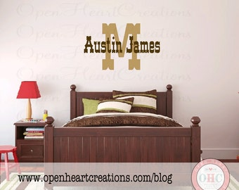 Initial and Name Wall Decal - Country Western Vinyl Lettering Monogram Boy Cowboy Baby Nursery IN0032