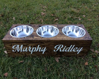 Rustic Wooden Two-Dog Dish Stand