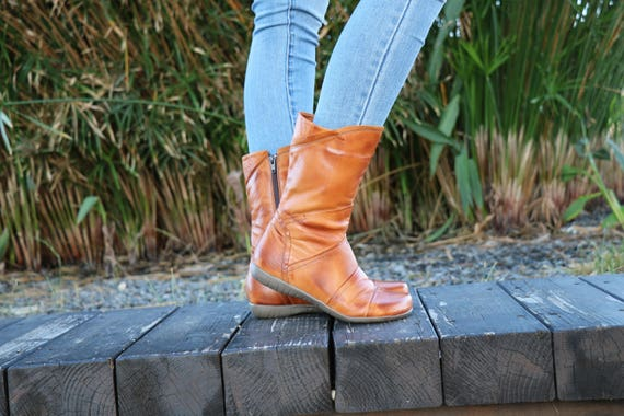 Ankle Handmade Boots Winter Wide Brash Women Shoes Boots Fit Boots Camel Boots Leather Zippered Boots Leather Boots Handmade wA6qvAR