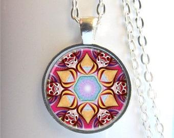 Mandala Necklace, Silver Mandala Charm, Art Pendant, Mandala Pendant