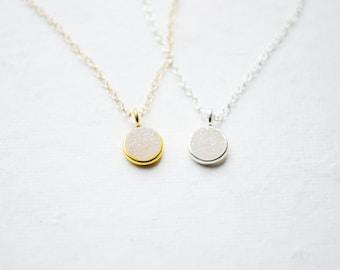 Tiny Druzy Necklace | White Rainbow Druzy | Dainty Silver or Gold Necklace | Minimalist Jewelry | Drusy Charm | Everyday Gifts for Her
