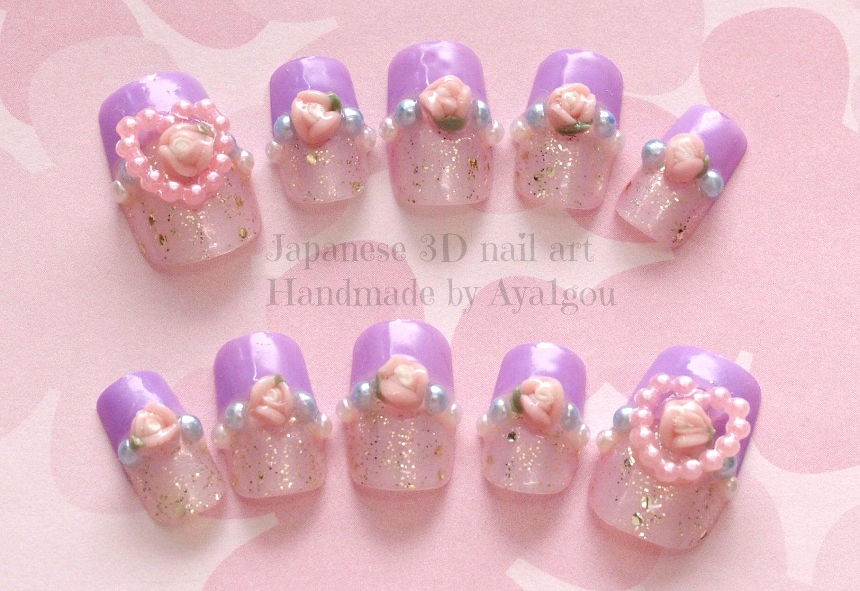 Lavender nail, kawaii nails, 3D nails, heart, rose, glittery, french ...