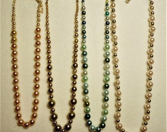 4 Vintage Single Strand Single Knotted Glass Pearl necklace