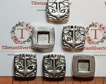 6 pcs per pack 16mm Square Anchor Textures Slide left to right drilled Antique Silver Finish Lead Free Pewter