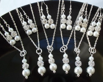 Bridesmaid Necklace And Earrings Jewelry Sets,White Pearl & Rhinestone Bridesmaid Jewelry,Bridesmaid Earring And Necklace Sets