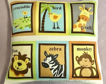 Zoo animal theme children's patchwork pillow case / cushion cover.