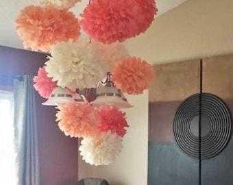 6 Medium Tissue paper pom. Coral
