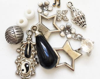 destash of silver black and white salvaged recycled jewelry components--mixed lot of 13 items