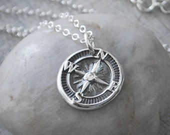 Silver Compass Rose Necklace - Compass Necklace - Handcrafted - Sterling Silver - Compass Pendant