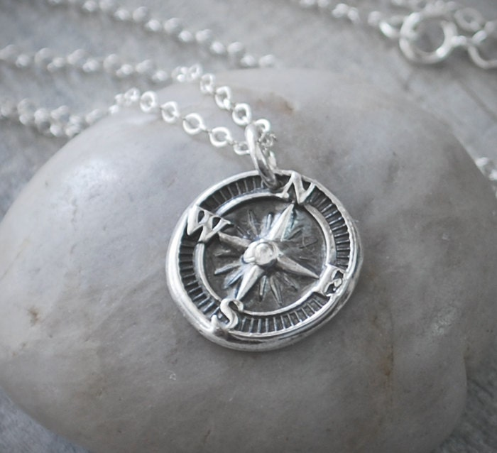 Silver compass rose necklace compass necklace handcrafted zoom aloadofball Choice Image