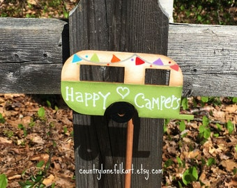 happy campers, camper decor, plant stick, plant pokes,  gift for gardeners, summer decorations, gardening gifts, hostess gifts, green