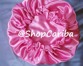 Reversible Satin Sleeping Cap Bonnet - hair protection - silky soft hair