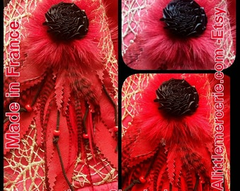 Applications leather-Rooster red grizzly feathers