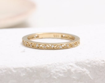 14K 18K Solid Gold Natural Genuine Diamond Accent Paisley Filigree Stacking Band Ring