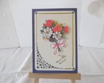 """Card """"Bouquet de Fleurs"""", theme: mother's day."""