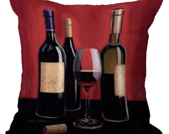 Wine Bottle Throw Pillow Cover Cushion Pillow Beige Couch Bed Pillows Cushion Cover Decorative Throw Pillow
