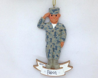 Army Latino Male Soldier Personalized Christmas Ornament / Medium Skin tone /Army Ornament / Military / Armed Forces