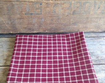 Vintage Burgundy Check Homespun Fabric. 1980's Vintage Fabric. Vintage Sewing. Vintage Cotton Fabric. Quilting Fabric. Doll Making Fabric.