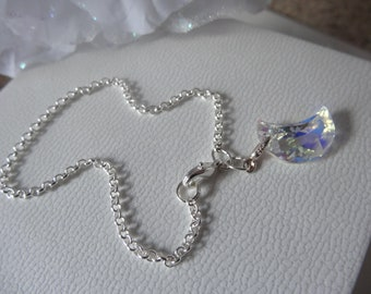 sterling silver chain anklet with swarovski elements moon charm all sizes