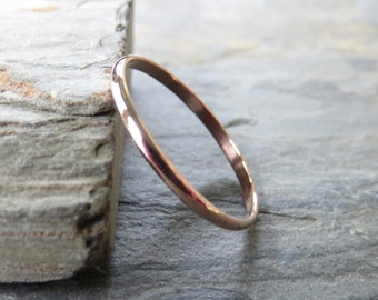 1.5mm Simple Rose Gold Wedding Band - Thin Traditional Wedding or Promise Ring in Solid 14k, Choose High Polish or Matte Finish - Half Round