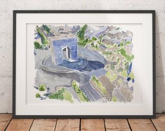 FRAMED Paris Watercolor Print Arc de Triomphe Wall Art Giclee print