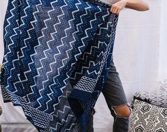Boho Scarf For Women- Tribal Scarf, Fashion Scarf, Block Print, Sarong Scarf, Beach Pareo, Spring Scarf, Blue Scarf, Gift For Women