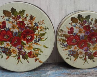 Pair of Cottage Chic Floral Tins!