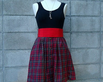 Plaid Short Skirt Vintage Plaid High Waist mini Skirt
