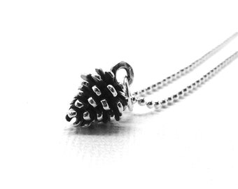 Pinecone Necklace, Pinecone Jewelry, Charm Necklace, Pinecone Pendant, Sterling Silver Jewelry, Sterling Silver Pinecone Charm, Pinecones