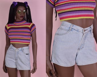 90s High Waisted Light Wash Denim Shorts/ 27 Waist/ 1990s
