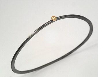 Oxidized silver bangle bracelet with a studded 18K gold granule, Hammered silver bracelet, Patina bracelet, Gift for her, Textured bracelet.
