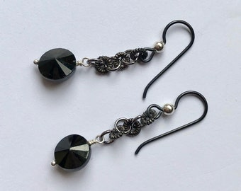 Black Spinel Earrings, Black Natural Stone Faceted Discs on Gunmetal Chain, Black Niobium Ear Wire with Sterling Ball Hypoallergenic Option