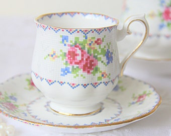 Vintage Royal Albert 'Petit Point' Lady Size Cup and Saucer, Petit Point, Forget-Me-Not and Pink Rose Decor, England