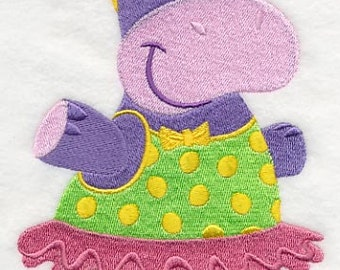 Hippo in Sunglasses Embroidered Flour Sack Hand/Dish Towel