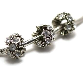 "2 beads, ""irregular rondelle"" and multiple rhinestones big hole 5 mm, white, silver aged"