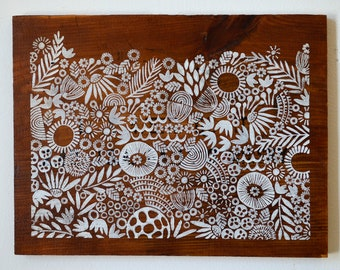 Reclaimed Wood-Hand Stamped Garden onto Reclaimed Wood-upcycle wall art, repurposed wood
