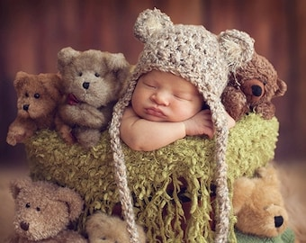 READY Baby Hat - Baby Bear Hat  - Baby Boy Hat - Baby Girl Hat-  3 Color Choices Earflaps & Ties with pom pom's