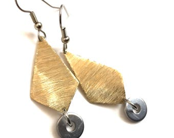 Brass Dangle Earrings Handmade Hardware Jewelry