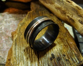 Hammered Oxided brass Spinner Ring with two silver .925 bands. Handcrafted-Custom Size