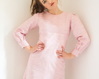 Vintage 1960s dress - 60s pink dress with button cuffs