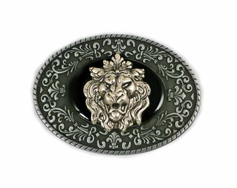 Gothic Gargoyle Belt Buckle Inlaid in Hand Painted Black Onyx Enamel Neo Victorian Buckle for Snap Belts with Color Options