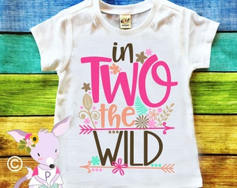 In Two the Wild Second Birthday Shirt Woodland Birthday Shirt Wild and Two Birthday Shirt Two Wild Birthday Shirt Custom Birthday Shirt