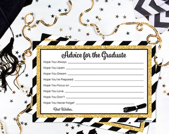 Black and Gold Graduation Advice Cards - Glitter Grad Party Idea, Senior Class of 2018, Graduation Party Game Activity - 25 Count