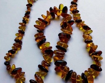 Beaded Amber Necklace - Jewelry
